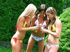 3 teenie girls masturbating outdoors on video