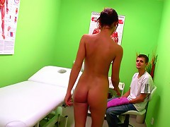 Caprice penetrated in all holes on the massage table