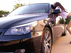 April gives a BJ in the car to her older boyfriend then takes his dick over and over till she cums 5 times.