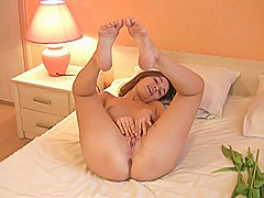 Girl poses naked