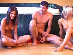 Little Caprice playing her first group sex game