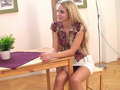 Aneta  Well shaped cute European teen by her friend