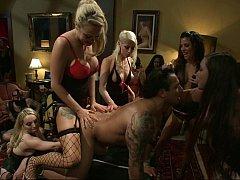 Lorelei Lee, Aiden Starr, DJ, Gia DiMarco, Parker London, Dutch Bardoux  A group of dominating girls fucking guy